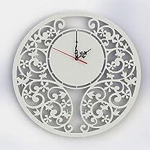 Orologio da parete Design Decorazione Shabby country chic Bianco Artigianale