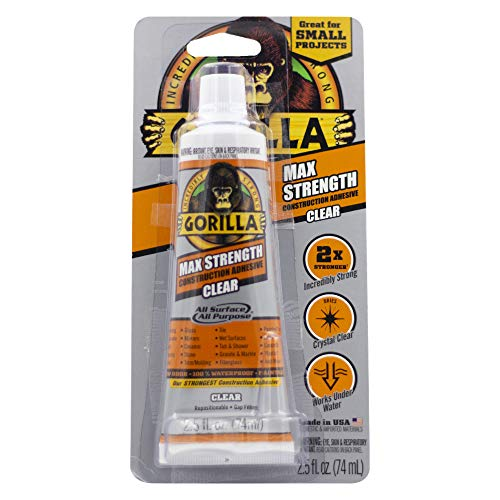Gorilla Construction Adhesive Max Strength, 2.5 Ounce Tube, Clear, (Pack of 1)