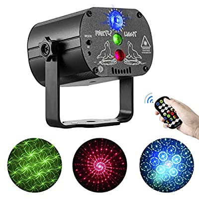 Disco Lights RGB LED Stage Beam Lights Sound Activated DJ Party Lights with Strobe Flash Effects, LED Stage Light Projector with Timing Remote Control for Home Birthday Dance Party