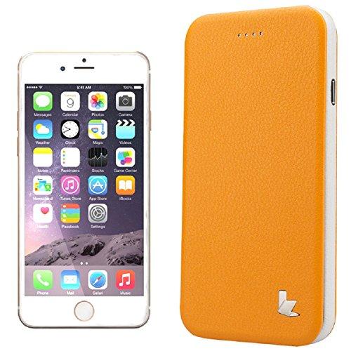 Megadream - Custodia in Pelle Sintetica per iPhone 6/6S da 4,7 Pollici, Ultra Sottile, con Funzione di Supporto, Colore: Giallo