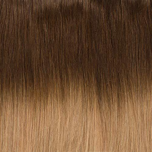 Extension Clip Capelli Veri Naturali 30cm/55g #4/#27 Marrone Cioccolato shatush Biondo Scuro - 8 Ciocche 100% Remy Human Hair Lisci Full Head Allugamento Donna