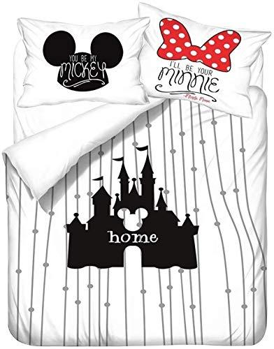QWAS Mickey Minnie Mickey Mouse - Juego de ropa de cama de Disney con dibujos animados 3D, microfibra suave, 1 funda nórdica y 2 fundas de almohada (L2,135 x 200 cm + 80 x 80 cm x 2)