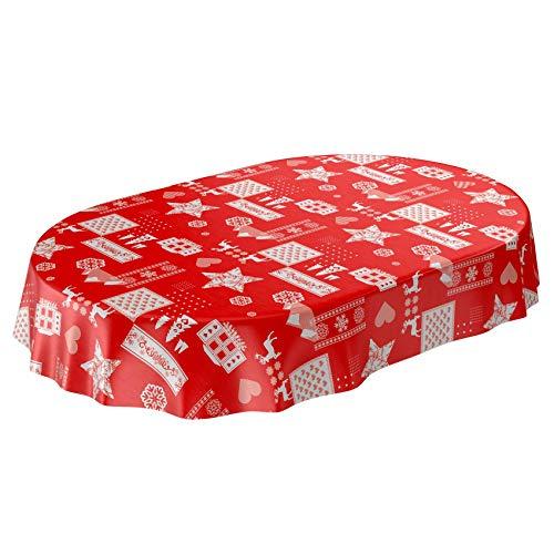 ANRO Wachstuchtischdecke Wachstuch abwaschbar Tischdecke Weihnachten Weihnachtsstimmung Rot Oval 180x140cm