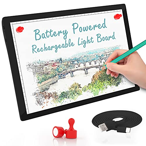 Rechargeable Tracing Light Box,Battery Powered LED Light Board A4 Size Portable,Comzler Bright Ultra-Thin Light Pad,Light Pad for Painting Artists Drawing Sketching Animation,Brightness Dimmable
