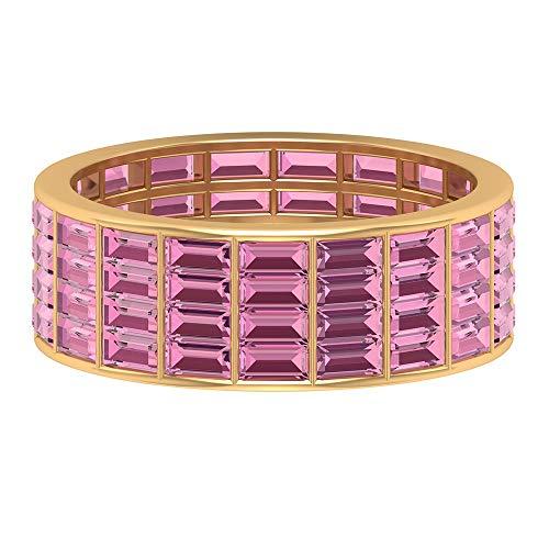 Rosec Jewels 14 quilates oro amarillo baguette Pink Tourmaline