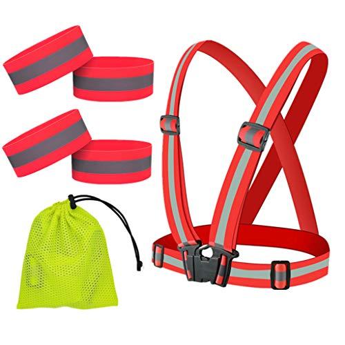 GOZAR Reflexivo Chaleco con Reflejo Seguridad Pulseras Ligero Flexible y Ajustable Al Aire Libre Seguridad Equipo Adecuado para Correr Trotar Senderismo y Ciclismo-Rojo B
