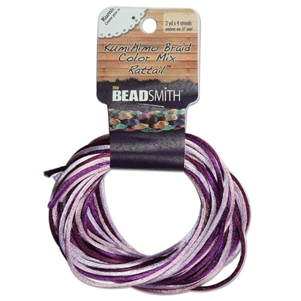 Satin Rattail Braiding Cord 3mm Lilac Purple Mix 4 Colors - 3 Yds Each by Beadsmith