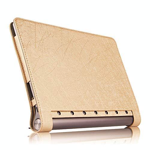 para Lenovo Yoga Tab 3 Plus Funda Protectora PU Funda de Cuero para Yoga TAB3 Tab3 Plus YT-X703F X703 X703L 10.1 Funda para Tableta-Dorado