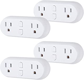 HBN WiFi Heavy Duty Dual Outlet Smart Plug with Individual Control, No Hub RequiredWhite, Compatible with Alexa and Google Assistant, 2.4 Ghz Network Only (4 Pack)