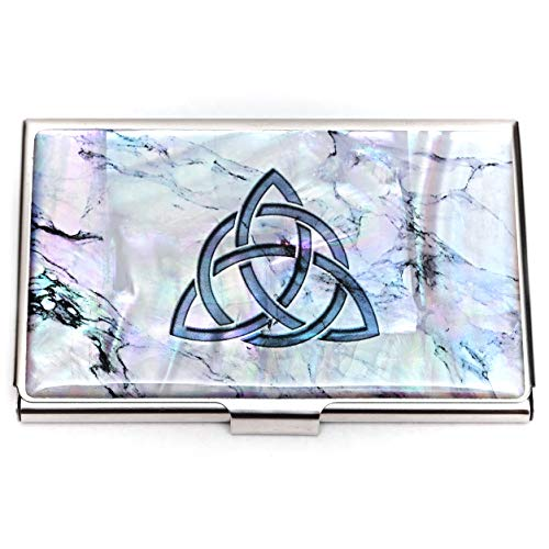 MADDesign Mother of Pearl Business Card Case Id Holder Mini Wallet Celtic Knot Marble