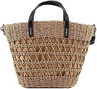 TOOGOO Fashion Portable Bucket Bag Straw Beach Holiday Woven Bag Shoulder Messenger Bag Brown