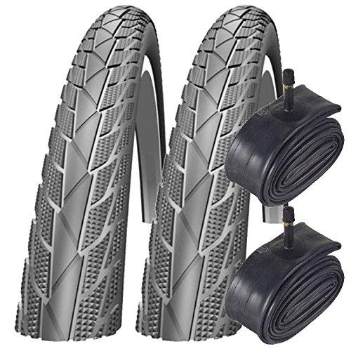 Impac 2x Streetpac (Made by Schwalbe) 26 x 1.75 MTB Bike Tyres & Schrader Tubes