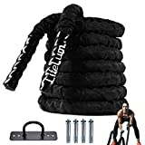 Battle Rope 1.5 Inch Heavy Battle Exercise Training Rope 30 ft Length with Protective Cover Workout Rope 100% Dacron Fitness Rope for Strength Training Home , Anchor Included (30)