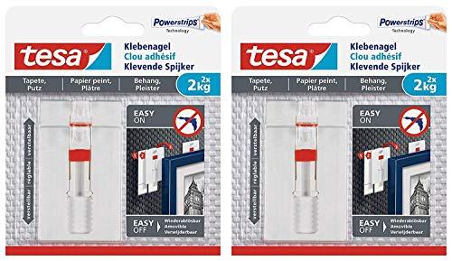 tesa® Verstellbarer Klebenagel für Tapeten und Putz 2 kg (2 Packungen = 4 Klebenägel)
