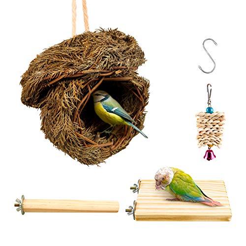 S-Mechanic Hummingbird Bird Nest,Handwoven Straw Grass Hanging Bird Hut Grass Woven Parakeet Breeding Cave Cozy Resting Place Sparrow House for Cockatiel Parrots Parakeet Conures Finch(H02)