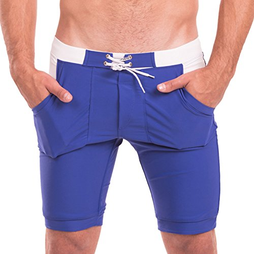 Taddlee Swimwear Men Swimsuits Long Basic Solid Blue Swim Boxer Brief Trunks(L)