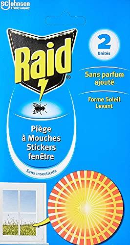 Raid Piège à Mouches - Stickers fenêtre pour la maison,Forme Soleil Levant, à appliquer sur les fenêtres, 2stickers