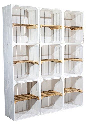 12er Set Weiße Regalkiste mit geflammtem Boden -Mittelbrett quer- / Kistenregal Obstkiste Holzkiste Ablage Schuhregal Bücherregal Wandregal 50x40x30cm