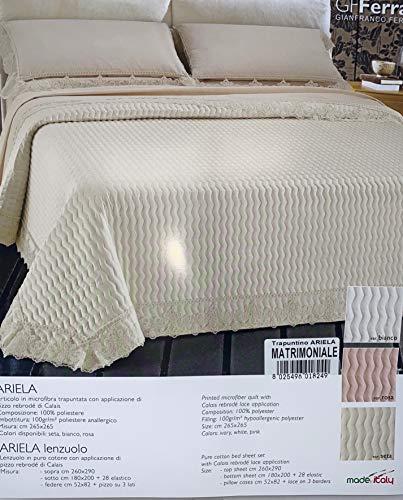 GF Ferrari - Juego de sábanas para cama de matrimonio (juego de sábanas + colcha primaveral), diseño de Ariela con precioso encaje rebrodè de Calais col. blanco