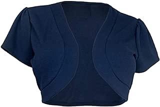 Women Casual Open Front Crop Top Short Sleeve Crochet Bolero Shrug Cardigan