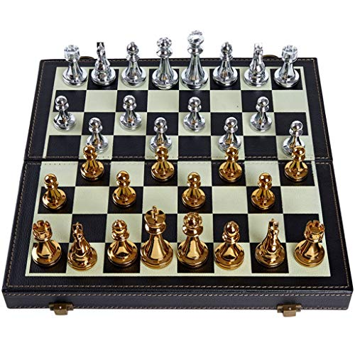 WYDA Chess Metal Folding Chess Set,Standard Chess Game Set,Gift for International Chess Lovers/Beginner and Learners Traditional Strategy Game ( Color : B )