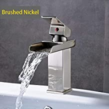 Generic Waterfall Spout Single Lever Bathroom Sink Faucet Deck Mount One Hole Basin Mixer Taps Brass Hot and Cold Basin Washing Taps-Brushed Nickle