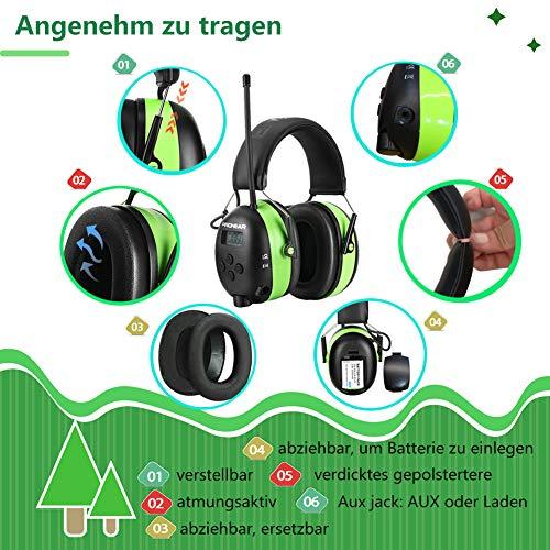 PROHEAR 033 Gehörschutz mit Bluetooth, FM/AM Radio Ohrenschützer, Eingebautem Mikrofon und Lärmreduzierung für Forst-, oder Landarbeit & lärmintensive Freizeitaktivitäten SNR30dB - 8