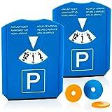com-four 2X Disque de stationnement - grattoir à Glace - parcomettre avec Rebord en Caoutchouc et jetons pour Caddie - parcmètre en Plastique (02 pièces - Disque de stationnement avec Puce)