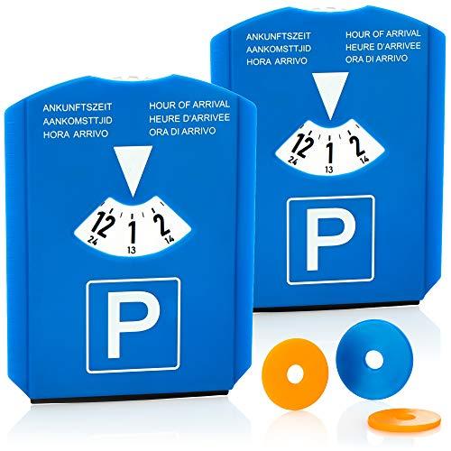 com-four® 2X Parkscheibe mit Eiskratzer, Gummilippe und Einkaufswagenchip - Parkuhr aus Kunststoff (02 Stück - Parkscheibe mit Chip)