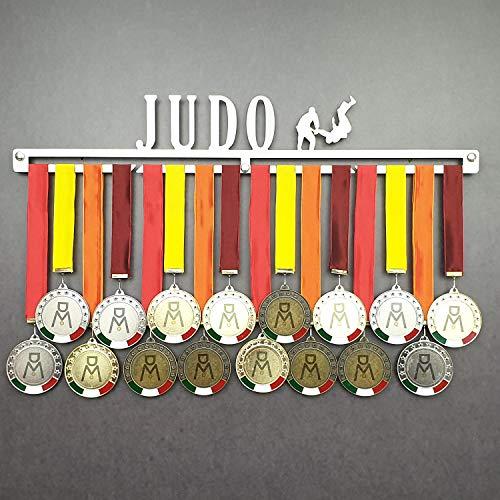 Judo - Colgador de medallas Deportivas - Medallero de Pared Artes Marciales, Judoka - Sport Medal Hanger - Display Rack (450 mm x 80 mm x 3 mm)