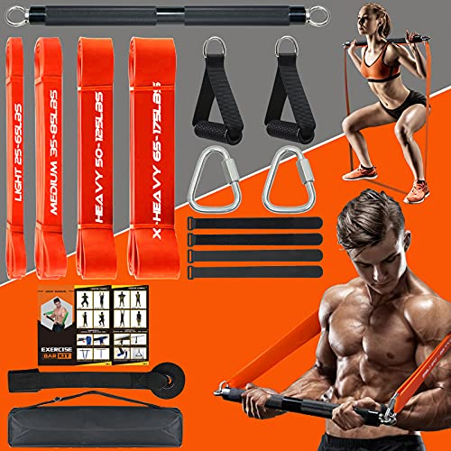 DASKING 500LBS Extra Heavy Home Gym Resistance Band Bar Set with 4 Levels Stackable Resistance Bands, Portable Full Body Workout Equipment Exercise Bar Kit,Workout Guide Included (Black)
