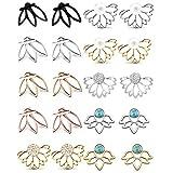 10 paia di orecchini per donne e ragazze, orecchini a perno a forma di fiore di loto con perle di cristallo turchese, orecchini semplici e chic, orecchini alla moda