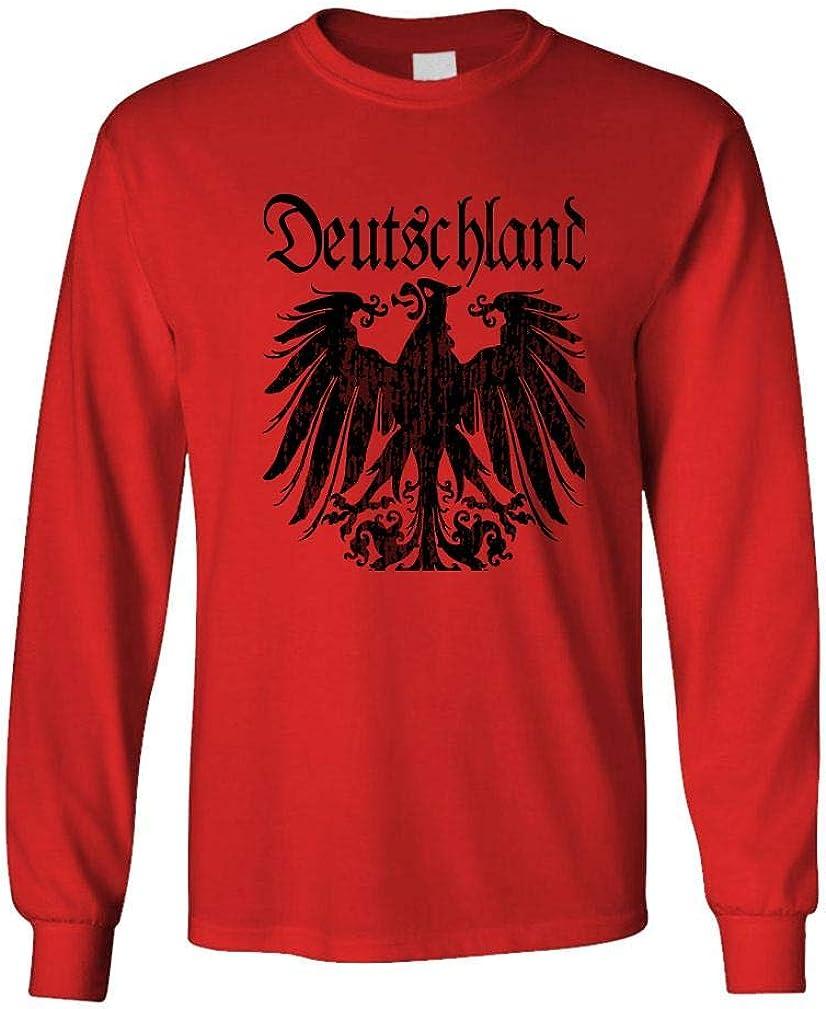 Black Deutschland Eagle - Mens Cotton Long Sleeved T-Shirt (XXL, Red)