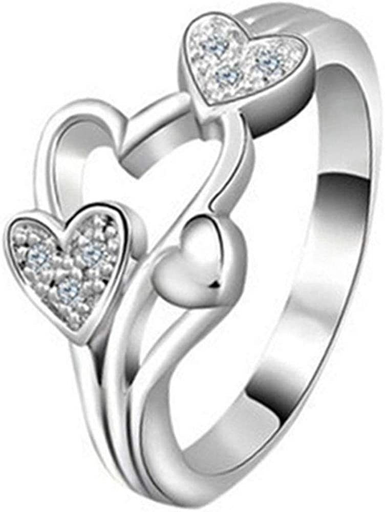 Cute Love Heart CZ Adjustable Rings for Women Girls Teen Toe Finger Open Rings Dainty Band Ring Statement Ring Wedding Valentine's Jewelry Birthday for Friend Lover