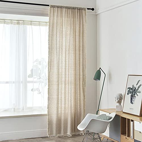 SHJIA Amerikanische Landhausstil Baumwolle Und Leinen Vorhänge Schlafzimmer Horizontale Streifen Gesäumt Französisch Fenster Einfache Installation Halbschatten Balkon Erkerfenster