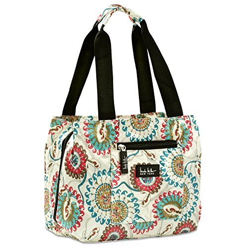 DESIGNER STYLE - Double handle straps are long enough to carry your stylish Nicole Miller lunch cooler over your shoulder or simply carry by hand. Bag measures 11W x 9H x 5D inches. INSULATED LUNCH TOTE - Insulated Interior keeps lunchs, snacks and b...