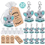 MOVINPE 20 Sets It's a Boy Baby Shower Return Favors for Guests, Blue Baby Elephant Keychains + Organza Bags + Thank You Kraft Tags for Elephant Theme Party Favors, Boys Kids Party Supplies