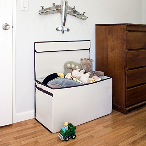 | Bigger, Sturdier Toy Chest | Collapsible with Flip-Top Lid, Large, Ivory 600 Denier | Extra Tough