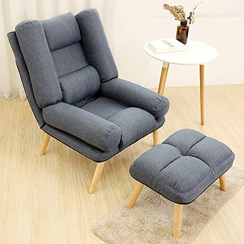LRSFM Justierbarer fauler einzelner Sofa-Stuhl faltbar stillende Lese-Couch-Betten Klubsessel mit Schemel (Farbe : Deep Gray)