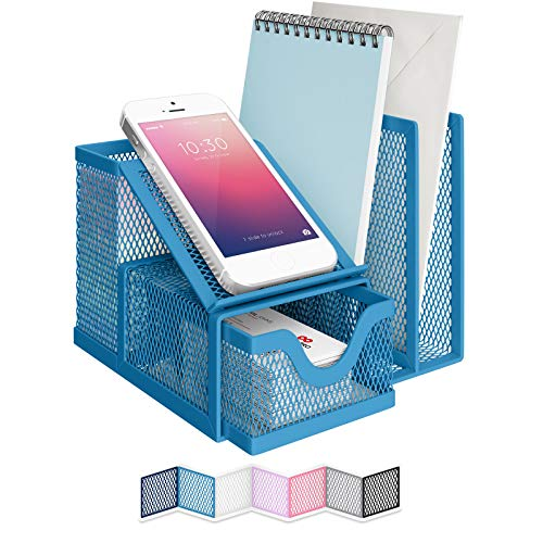 NEATERIZE Desk Organizer for Files - Sturdy Desktop Organizer for Home Office School College Dorm - Office Supplies and Accessories Organization Caddy for Sticky Notes Pens Pencils Holder - Blue