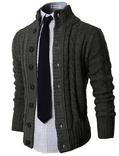 H2H Mens High neck Twisted Knit Cardigan Buy Online in