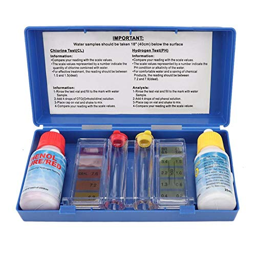 Aoca Pool-Wasser-Test-Kit, praktisches Pool-PH-Test-Kit mit Einer Kunststoff-Aufbewahrungsbox für den Pool für die meisten Menschen