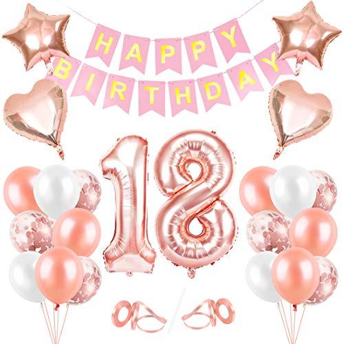 Globos Cumpleaños 18 año, 18 Oro RosaDecoraciones, Pancarta de Feliz Cumpleaños, Decoración de Cumpleaños para 18 Niña, Globos de Confeti y Aluminio Oro Rosa, Fiesta Regalos para Niña y Mujeres y Bebe