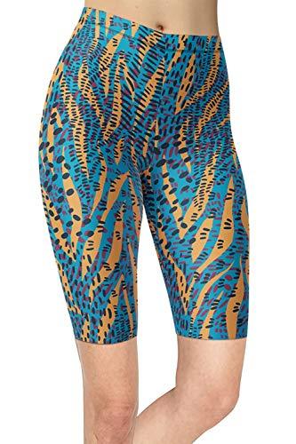 sissycos Damen Leopardenmuster Kurze Leggings, Tier Muster Radlerhose Fitness High Waist Kurz Hosen, Push up Laufhose Damen Blickdicht Short fü Sommer(Gebogener Tierzebradruck,L-XXL)