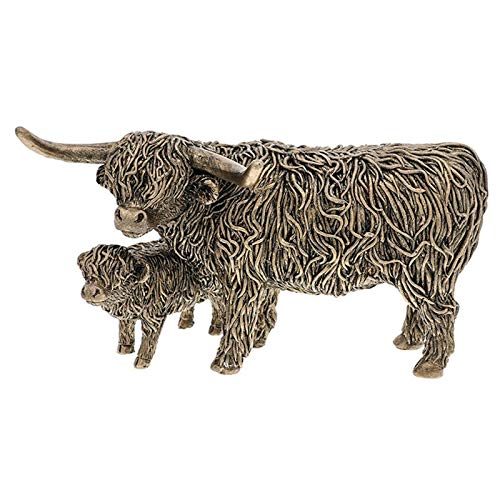 Shudehill Giftware Bronze Highland Cow and Wee Calf Ornament Figurine Boxed