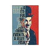 Poster Charlie Chaplin avec citations de motivation sur toile pour décoration murale de salon sans cadre 30 x 45 cm