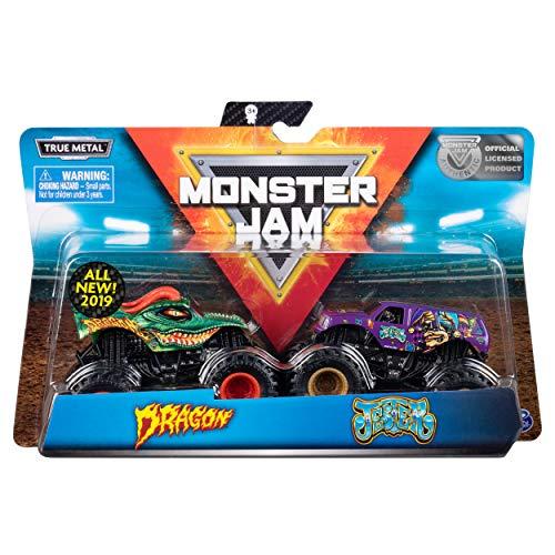 Monster Jam 6044943 - Original Monster Jam Zweier - Pack mit authentischen Monster Trucks im Maßstab 1:64 (Sortierung mit verschiedenen Designs)