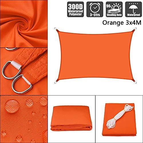 SFYUAN Toldo Cuadrado Rectangular de poliéster Impermeable 300D, Red de protección Solar, Vela, Refugio Solar al Aire Libre, Color Rojo anaranjado-3x4