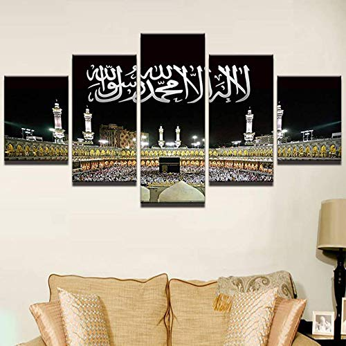 Meaosy Wandkunst Bilder Wohnkultur Moderne Hd Drucke 5 Panel Islamischen Moschee Schloss Malerei Allah Der Koran Leinwand Poster -20X35/45/55Cm