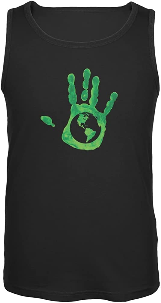 Earth Day - Handprint Earth Black Adult Tank Top